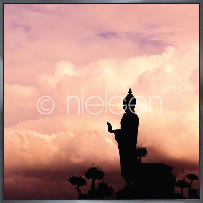 """Image encadrée """"Buddha"""" avec cadre en aluminium Alpha"""