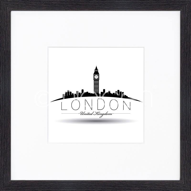 """Image encadrée """"London"""" avec cadre en bois Quadrum"""