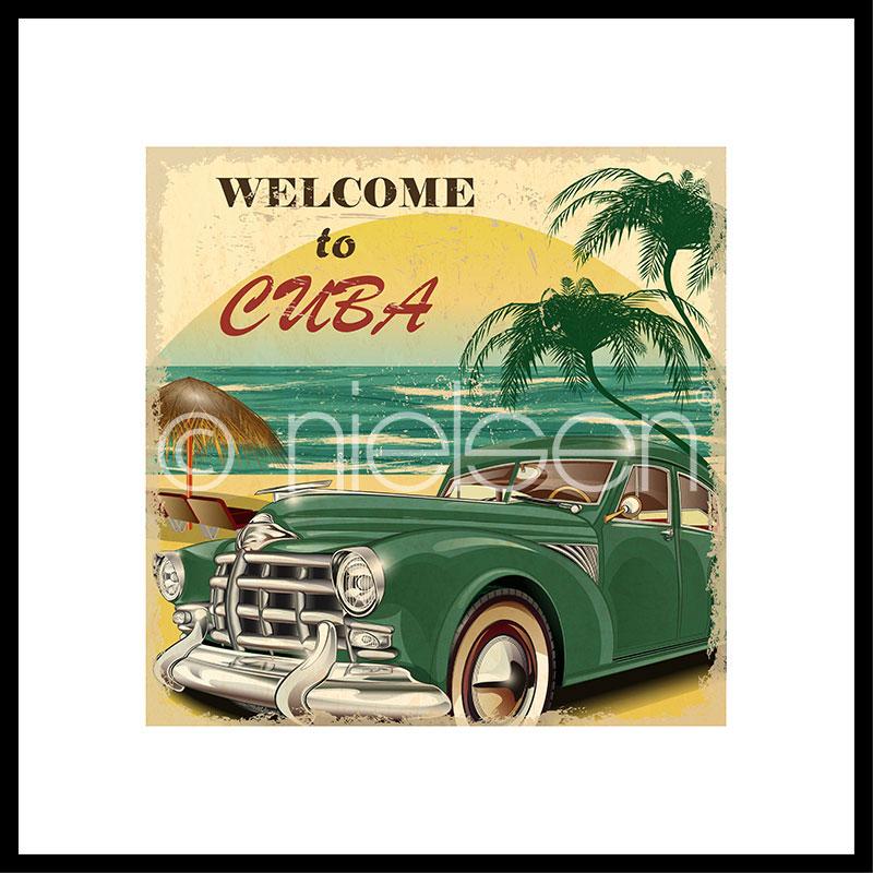 "Image encadrée ""Welcome to Cuba"" avec cadre en aluminium C2"