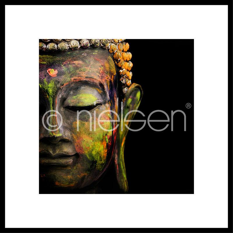 """Image encadrée """"Buddha head"""" avec cadre en aluminium C2"""