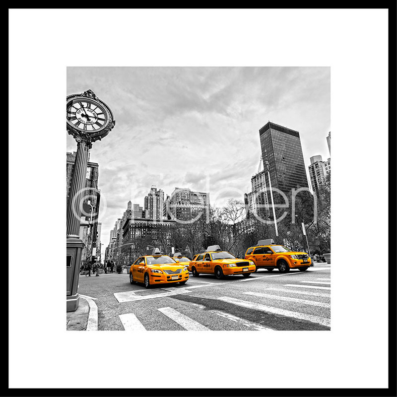 """Image encadrée """"New York Taxi"""" avec cadre en aluminium C2"""