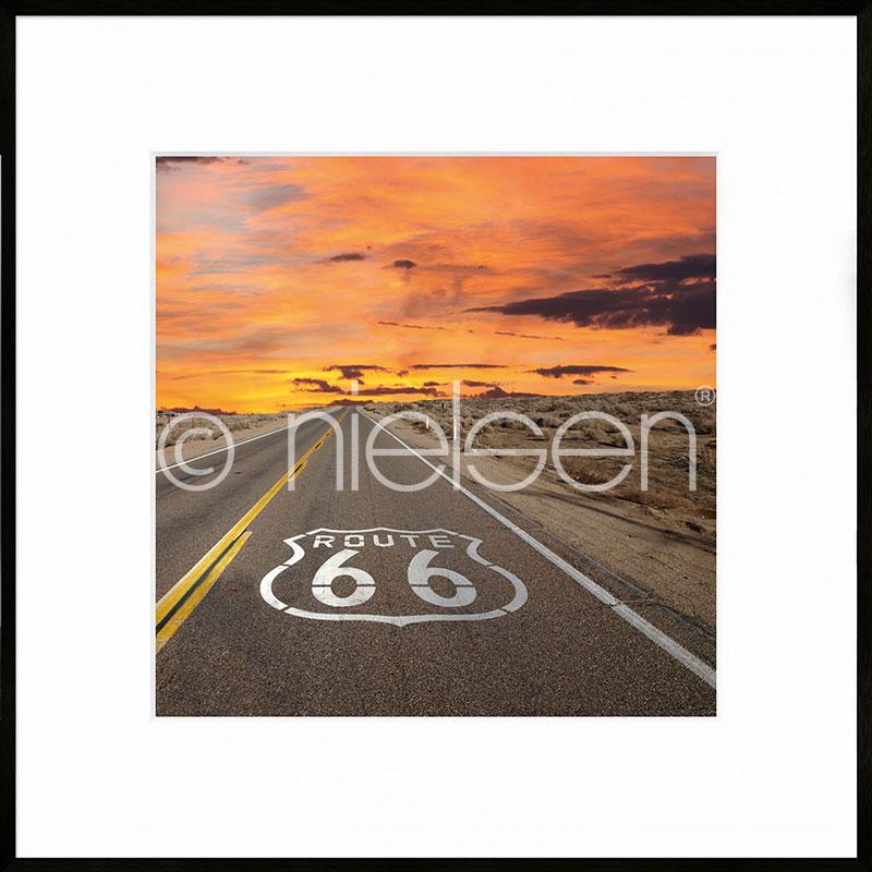 """Image encadrée """"Route 66"""" avec cadre en aluminium C2"""