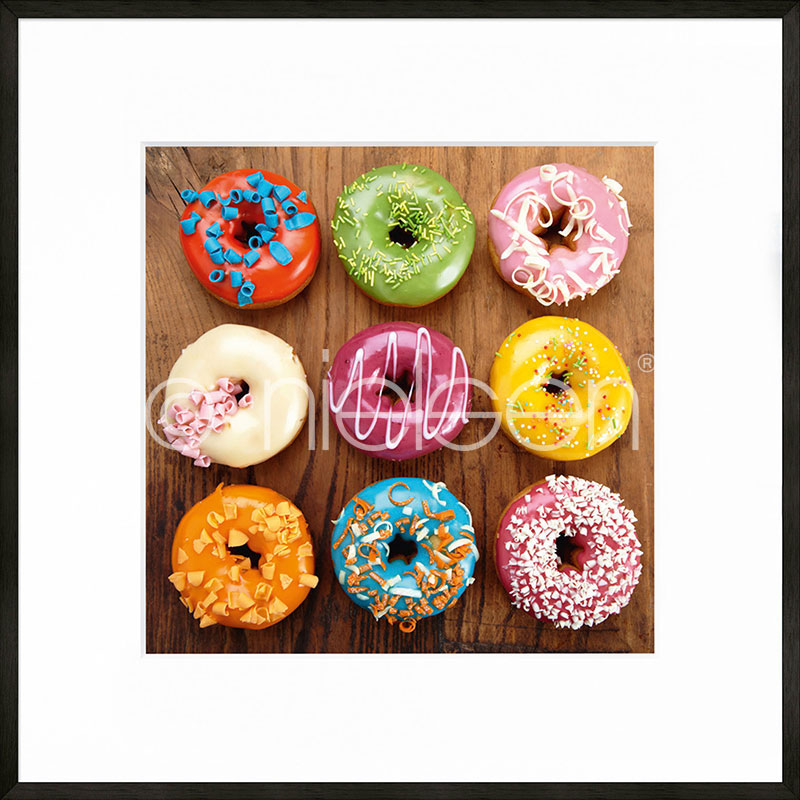 """Image encadrée """"Donuts"""" avec cadre en aluminium C2"""
