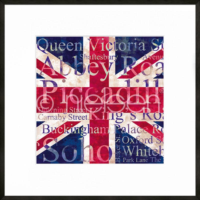 """Image encadrée """"Union Jack"""" avec cadre en aluminium C2"""