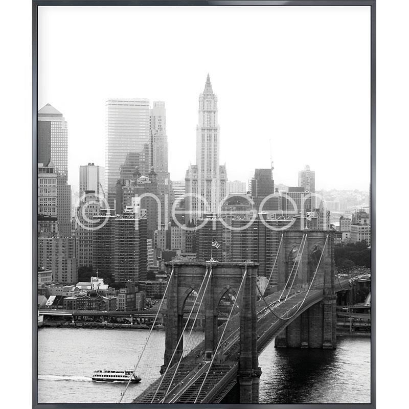"""Image encadrée """"Brooklyn Bridge"""" avec cadre en aluminium Alpha"""