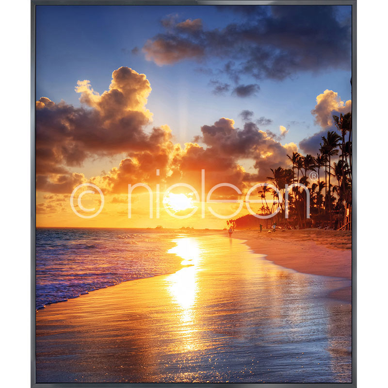 "Image encadrée ""Sunset Beach"" avec cadre en aluminium Alpha"