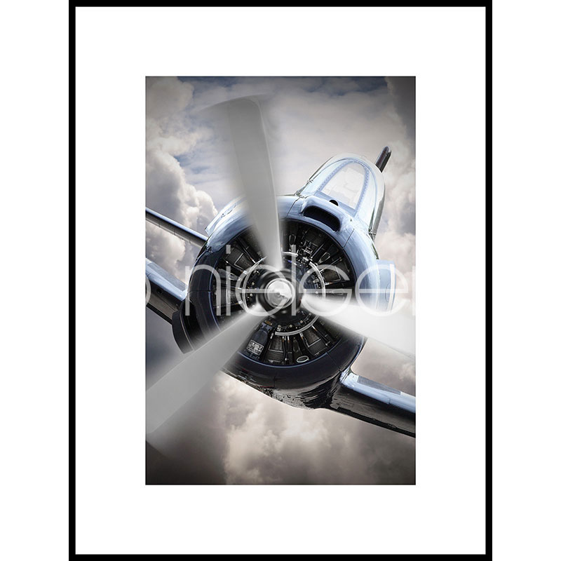 """Image encadrée """"Airplane Chrome"""" avec cadre en aluminium C2"""
