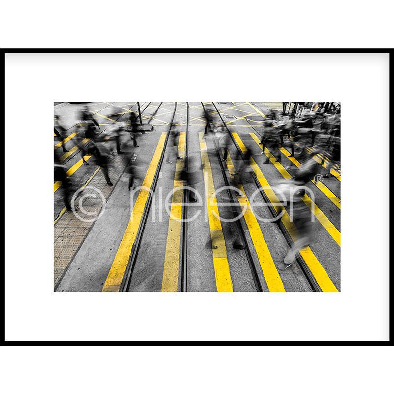 """Image encadrée """"Zebra Crossing"""" avec cadre en aluminium C2"""