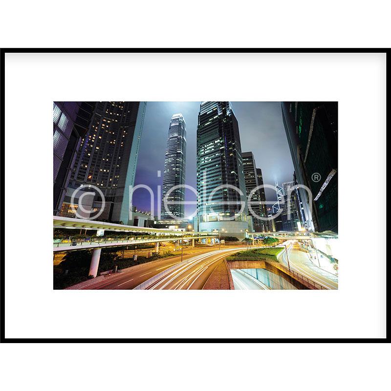 """Image encadrée """"Hongkong at Night"""" avec cadre en aluminium C2"""