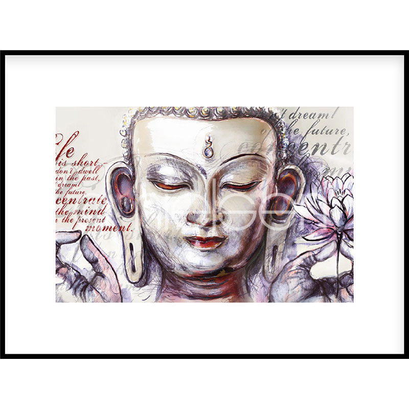 "Image encadrée ""Buddha Pearcing"" avec cadre en aluminium C2"