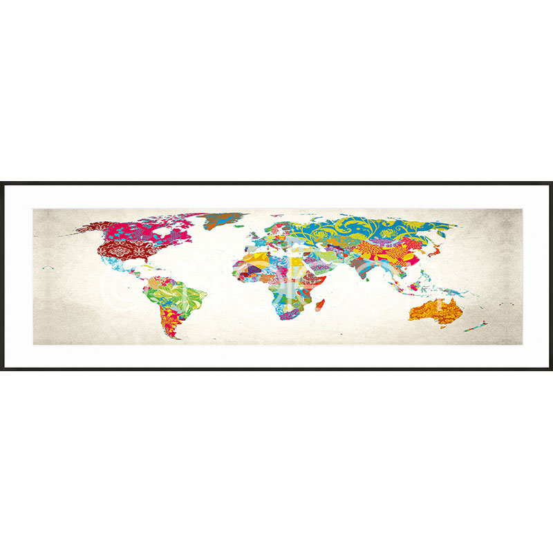 "Image encadrée ""World Map"" avec cadre en aluminium C2"
