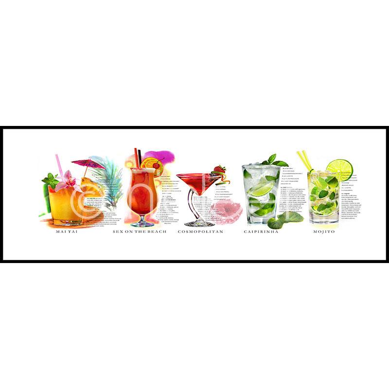 """Image encadrée """"Cocktails"""" avec cadre en aluminium C2"""