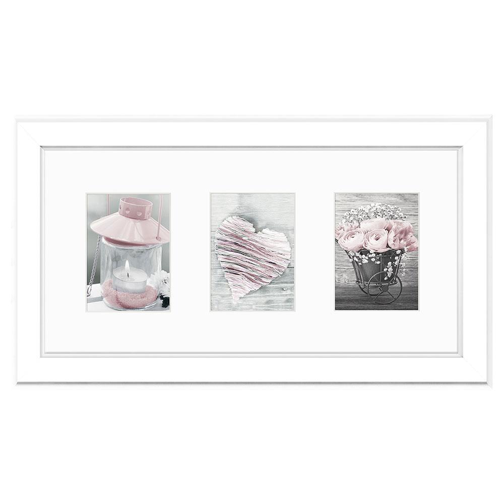 Cadre de galerie MALMO pour 3 photos 23x46 cm (3x 10x15 cm) | blanc | verre standard