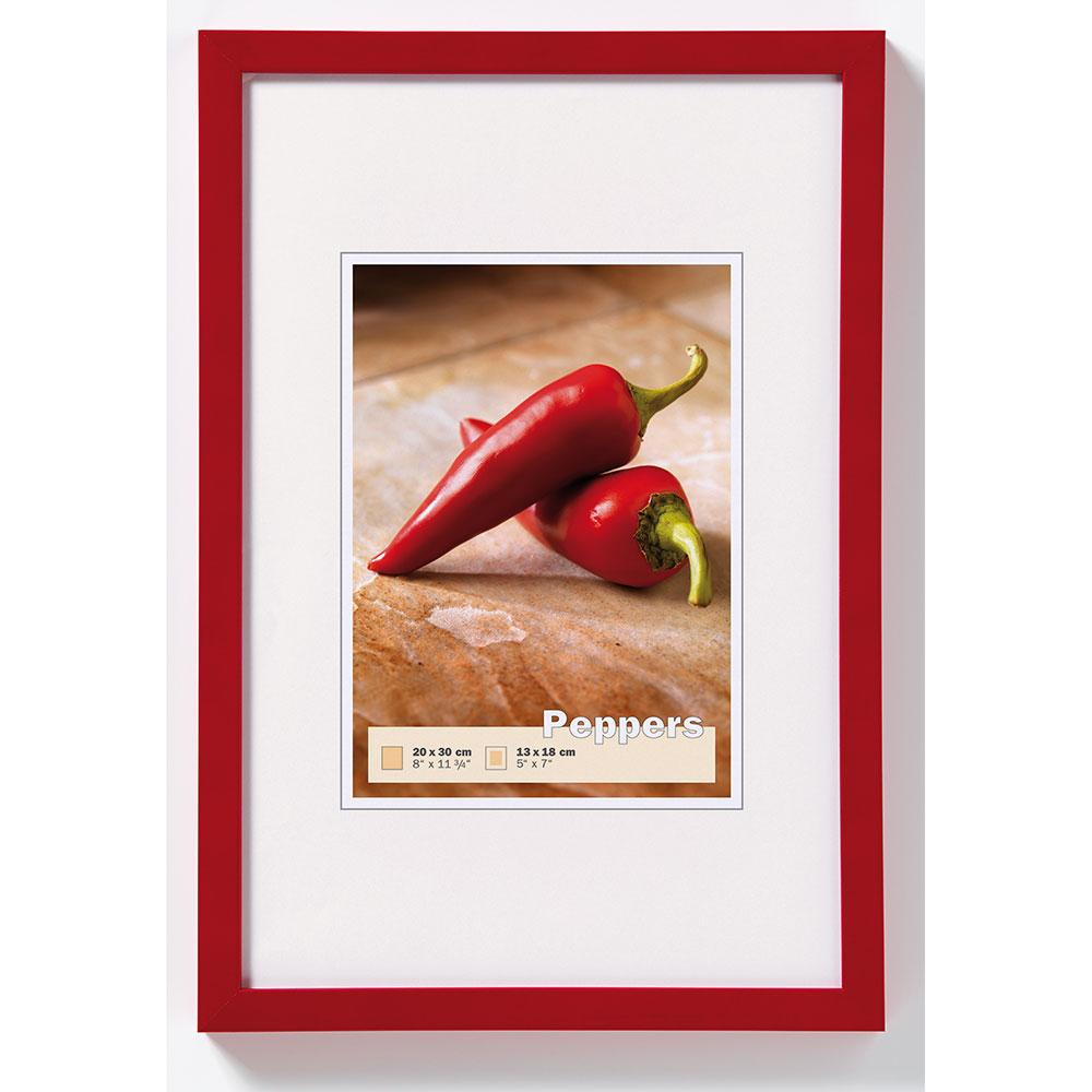 walther cadre en bois pepper 15x20 cm rouge verre normal. Black Bedroom Furniture Sets. Home Design Ideas