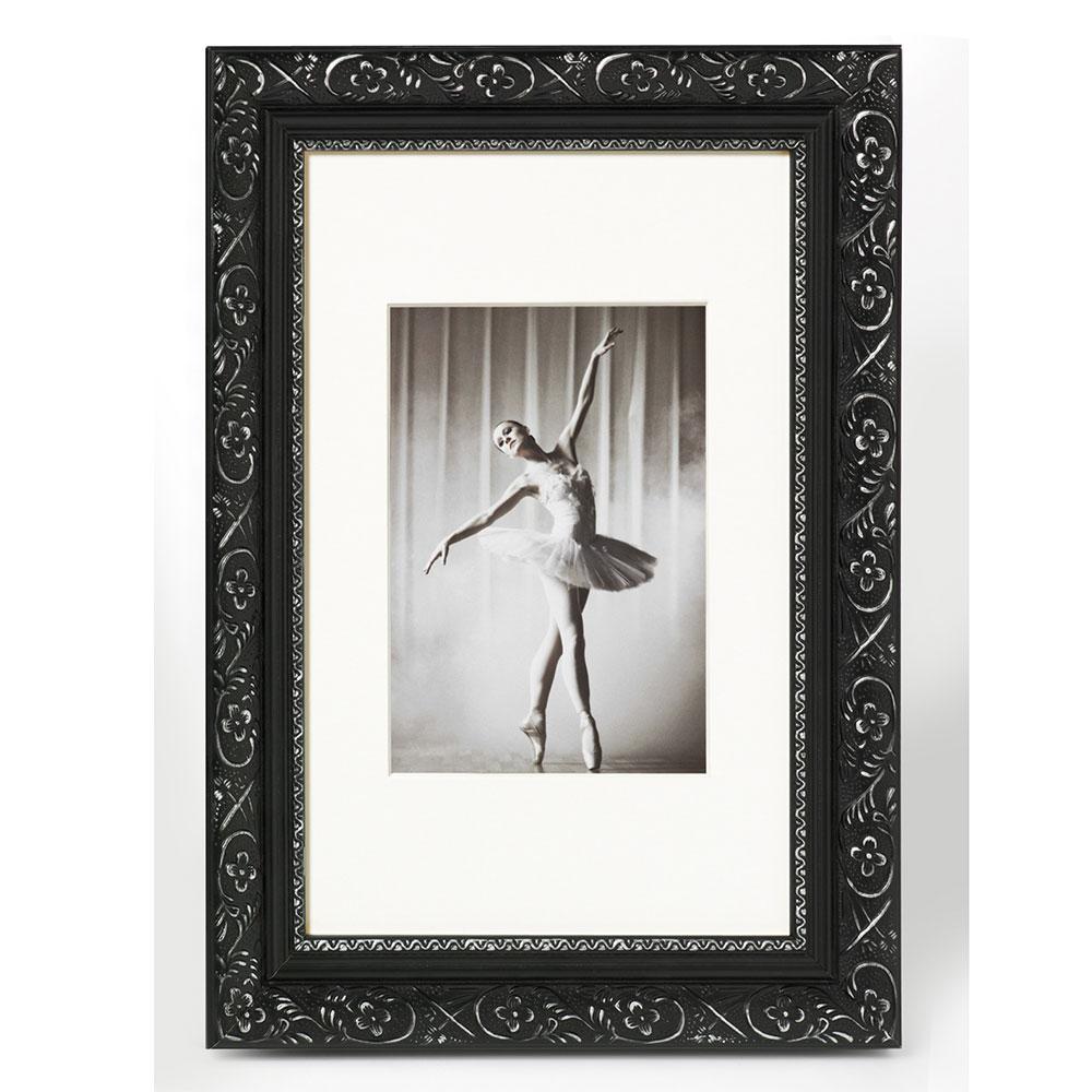 walther cadre en bois barock 50x70 cm noir argentin verre normal. Black Bedroom Furniture Sets. Home Design Ideas