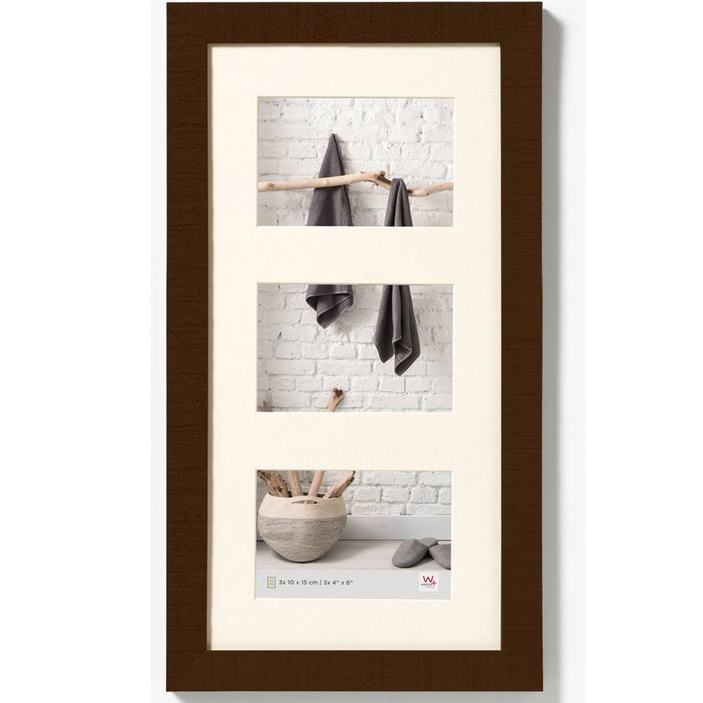 Cadre galerie pour 3 photos Home 3x 10x15 cm   noyer   verre standard