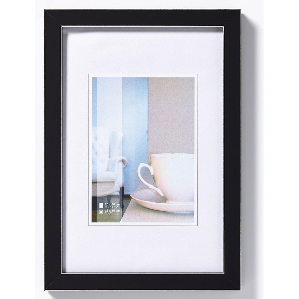 Cadre en plastique Ambience 10x15 cm | noir avec rayes en argentin | verre normal