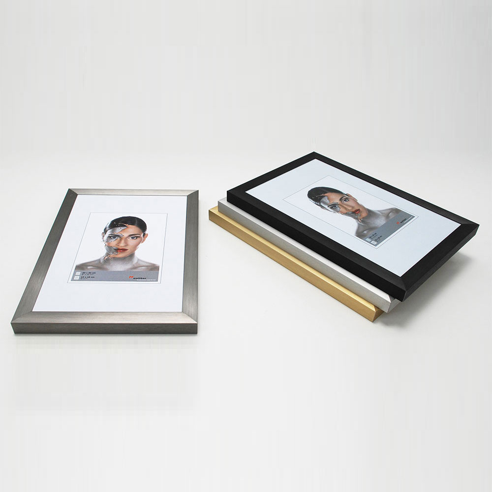 walther cadre en aluminium spacy 40x60 cm noir verre normal. Black Bedroom Furniture Sets. Home Design Ideas